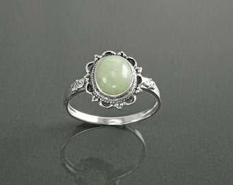 NATURAL Jade Ring, Sterling Silver, Boho Ring NOT-DYED Green Jade Gemstone Bali Tribal Ring Gypsy Bohemian Jewelry Antique Victorian Ring