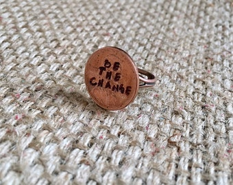 Stamped Coin Ring, Stamped Penny Ring, Custom Penny Ring, Custom Stamped Ring, Graduation Ring, Lucky Penny Ring, Stamped Coin Ring