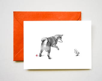 Shiba Inu and Little Chick Card, Unique Sumi-e Painting Print, Parents Love, B&W Zen Japanese Animal illustration Ink Drawing Dog Lovers