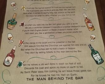 SALE-The Man Behind the Bar Irish linen tea towel