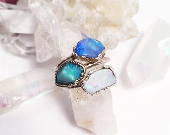 Raw Opal Ring, Silver Opal Ring, Rough Opal Ring, Fire Opal Ring, Opal Statement Ring, Large Opal Ring, October Birthstone Ring, Rings