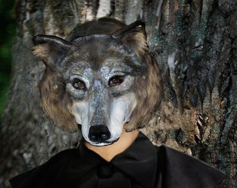 Wolf Paper  mask  Paper mache Lykos(wolf) head mask animal mask Lykos(wolf) costume Papier mache Adult mask