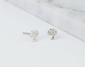 Sterling Silver Dainty Tree of Life Stud Earrings - Nature, Tree, Little Studs, Cute