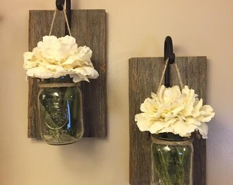 Rustic Mason Jar Wall Vases Accented With Cream Peony Wall Decor- Set Of Two