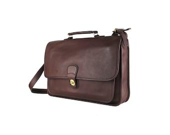 S A L E 25% OFF *** Vintage COACH Brown 5180 Genuine Leather Laptop Briefcase Large Crossbody Messenger Bag