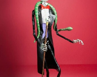 Barón Samedi, Vudú, Catrina, Day of the Dead, Hand made, paper mache, figure, mexican art, Halloween