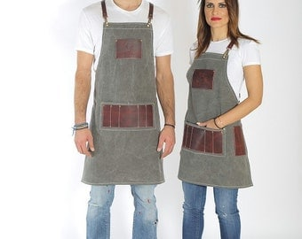 Hair salon apron, high quality leather, sophisticated, logo personalized & haircolorist easy clean all leather version variation - Elvis