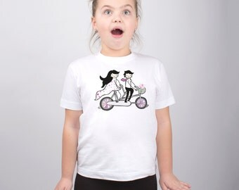 Bicycle T-Shirt Childs Shirt Couple on Bicycle Shirt Toddler Shirt Fanny Kids Shirt Girls Tshirt Bicycle Outfit Graphic Tee PA1080