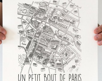 "Illustration Art Paris Screenprinted Poster ""N & B"" A3 size"
