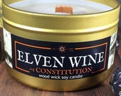 ELVEN WINE Fantasy RPG-inspired wood wick soy candle in 4oz, 6oz or 8oz gold tin: artisan geek, gamer, or book-lover gift