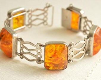 """Chunky Vintage """"Fischland"""" AMBER Silver 835 Bracelet, Amber Jewelry"""