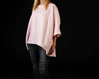 Oversized linen blouse / One size blouse / Linen top / rose