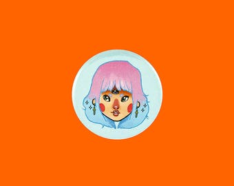 three eyed girl  | 2.25 inch pin back button
