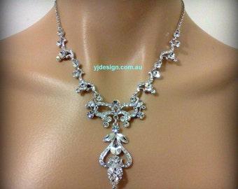 Statement Bridal Necklace, Art Nouveau Wedding Necklace, Victorian Wedding Jewelry, Swarvoski Crystal Bridal Jewelry, Gift for Her, NOVA