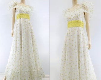 sale Boho Maxi Dress 70s Peasant Dress Floral Maxi Dress Yellow Floral Dress Vintage Ruffle Dress Off Shoulder Dress Off Shoulder Wedding xs