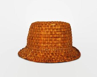 Beautiful Vintage Handmade Straw Grass Woven Fedora Panama Hat