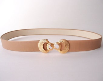 70s vintage belt / textured Gold Circles metal buckle belt Jeannie Bouchever 1976