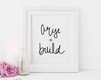 Arise and Build, Illustrated Faith, Handwritten Scripture Art Print, Scripture for Her, Bible Journaling Gift, Bible journal, Digital Print