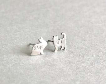 Personalized Cat and Rabbit Earrings -mismatched studs