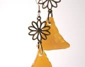 Large Brown Rhode Island Sea Glass with Antique Brass Daisy Earrings on Your Choice of Sterling Silver or Stainless Steel Ear Wires