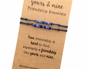 """FRIENDSHIP Bracelets ~ YoURS & MiNE SeT ~ Navy cotton Cord with Sapphire Blue Seed Beads mix ~""""True Friendship is Hard to Find"""" ~ Adjustable"""