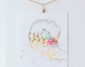 "Whimsical art ""A Second of Whimsey"" with handmade fabric Peonies, watercolor and foil  8""x10"" 