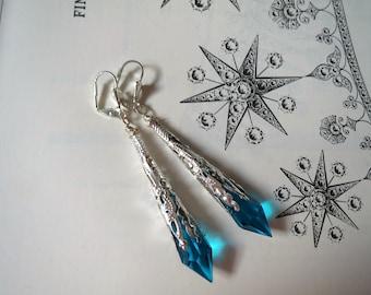 Turquoise Earrings Art Nouveau Style Filigree Jewelry Pointed Earrings Art Deco Style Elven Earrings Victorian Earrings Clip On Earrings