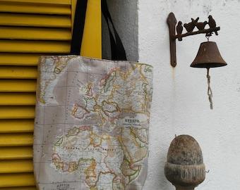 Shopping bag, world map bag, reversible bag, beach bag, big tote with pockets