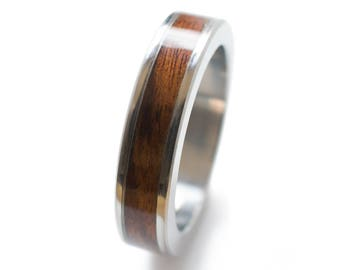 Rosewood Ring - wood wedding rings, wood inlay wedding bands, unique engagement rings, womens wood rings, wooden gift, rosewood wedding band