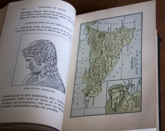 Orations Of Cicero - 1929 - Revised - Moore and Barss - Latin Textbook, Primer, Foreign Language, History, 1920s, Green.