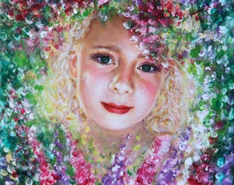 Girl In Lupine Original handmade acrylic painting on canvas Painting From Photo Impressionism Realism Custom Portrait