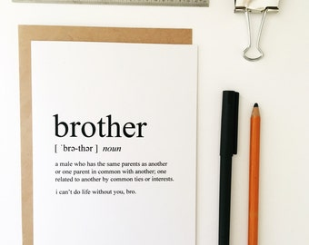 Brother Card - Friendship Card - Best Friend Card - Greeting Card - Humorous Greeting Card