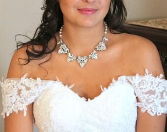 Crystal Wedding necklace, Statement necklace, Wedding jewelry, Pearl necklace, Rhinestone necklace, Swarovski necklace, Bridal necklace