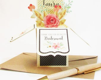 Thank You For Being My Bridesmaid - Unique Pop Up Greeting Card - Maid of Honor - Matron of Honor - Flower Girl - Wedding Attendant Gift