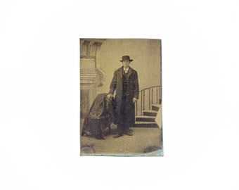 Vintage Tintype Photo of Young Man with Hat / Victorian Era Tintype Photograph