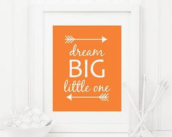 Dream Big Little One Printable Nursery Quote Print Tribal Nursery Decor Tribal Arrows Orange Nursery Wall Art Boy Nursery Art Native Decor