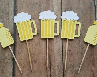 Cheers & Beers Cupcake Toppers... Baby Shower... Neutral... Man Shower