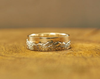 La Plata Mountains Silver Ring, Colorado Springs Ring, Mountain Ring, Wedding Band, Textured Landscape Ring, Nature Ring, Mountain Wedding