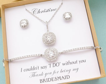 Personalized Bridesmaid Gift, Bridesmaid Jewelry Set, Bridesmaid Earrings Necklace Bracelet Set, Princess Cut Stud Earrings, Wedding Jewelry