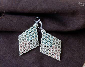 Beige micro macrame rhombus earrings| handmade jewelry| original gifts for her| delicate earrings| silver ear wires| toho seed beads