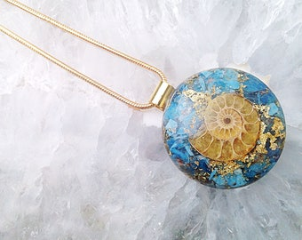 Powerful Orgone Pendant - Ammonite/Blue Apatite - FREE WORLDWIDE SHIPPING!