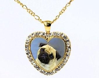 Gold Plated Custom Rhinestone Pet Memorial Jewelry - Photo Portrait Necklace  - Keepsake Necklace - Heart Photo Pendant Necklace