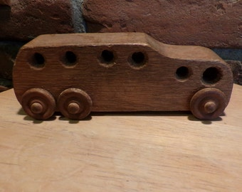 Vintage wood car, wood bus, wooden homemade bus, push pull toys, vintage wood toy
