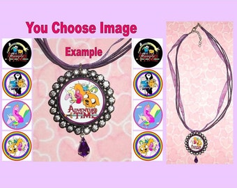 ADVENTURE TIME Childrens Rhinestone Ribbon Necklace U Choose Image & Colours Bottlecap Lady Rainicorn Princess Bubblegum Finn Jake Marceline