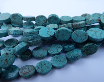 "16"" Strand 38 Beads of 11x8 mm Flat Oval Turquoise Cross Beads / Magnesite Beads/"