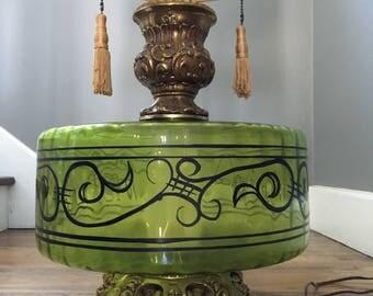 HUGE Mid Century Green Lamps (2)