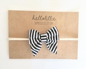 Black Stripe Sailor Bow Headband