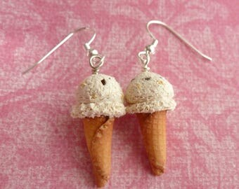 Ice Cream Cookie Dough Gifts for Friends Gifts for Sister Gifts for Her Miniature Food Jewelry Polymer Clay Ice Cream Cone Earrings