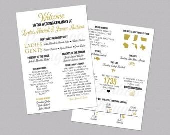 Infographic Wedding Program, Black And Gold Wedding Program, Fun Wedding Program, Printable Wedding Program, Unique Program, Modern Program