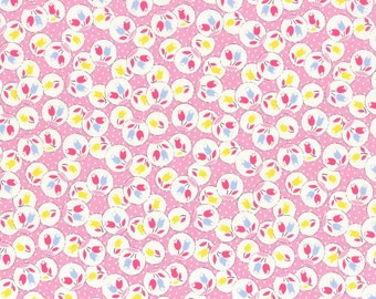 Retro 30's Child Smile Flowers in Circles fabric in Purple from Lecien #31442-110 Fall 2016